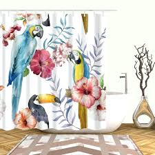 bird shower curtain bed bath and beyond watercolor blue parrot