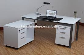 office side table. White Melamine Office Table With Drawers And Side Cabinet