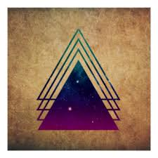 Cool Space Triangles on Grunge Background Poster