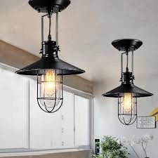 nautical style 1 light industrial mini semi flush ceiling light with wire guard pendants