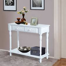 hallway console table. Wood 2-Drawer Hallway Entryway Console Table W/ Shelf Traditional Style - White