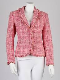 escada pink tweed fringe blazer jacket size 2 34