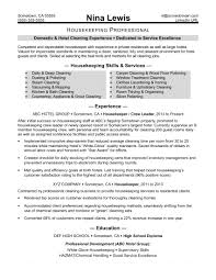 Housekeeping Resume Sample Monster Com