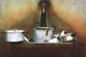 sink lighting still life painting stainless steel pots cookware still life photography man made object cooking