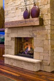 wood stone fireplace