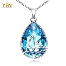 yfn fashion copper necklace white erfly with blue austrian crystal teardrop pendant for women wedding jewelry