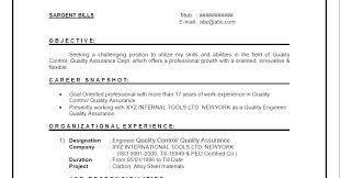 Resume Format For Quality Engineer Jobs Canada Quality Engineer Cv Sample Uk Restaurant