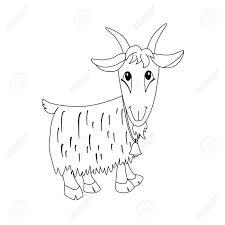 ベルと漫画ヤギの概要図動物の塗り絵のイラスト子供のための素晴らしいカード