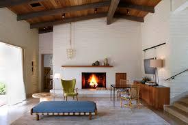 mid century modern fireplace large