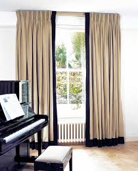 Jute curtains with triple pleat heading and leading edge and ...