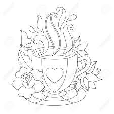 Vettoriale Caffè O Tazza Di Tè Disegni Da Colorare Illustrazione