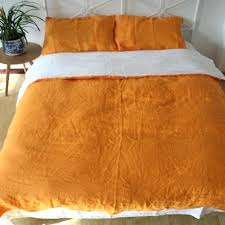 pure linen duvet cover set queen king orange flax bedding bed sheets pillowcases shams forest green