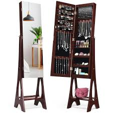 costway led jewelry cabinet armoire