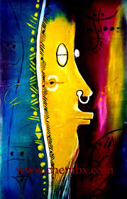 african mask painting oil color on canvas by artist chembaline uche