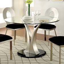 furniture of america sculpture iii contemporary glass top round throughout dining table inspirations 2