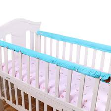 <b>1 Pair</b> 100% Cotton <b>Baby Crib Bed</b> Set Guardrails' Protector ...