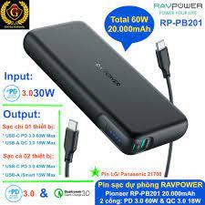 Pin sạc dự phòng Macbook Pro, iPad Pro, iPhone 12 Series RAVPOWER RP-PB201  Pioneer 20000mAh PD 3.0 60W & QC 3.0 18W