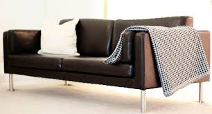 ikea leather sofa innovative furniture dark brown with arms and double seats connected by stainless steel
