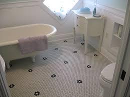 vintage chic bathroom floor retro hexagon mosaic tile pattern