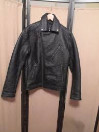 details about american eagle outfitters black genuine leather motorcycle jacket mens medium