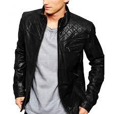 men s quilted shoulder black leather jacket zoom men s