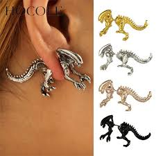 punk charm jewelry exaggerated metal pendant earrings gold embossed big womens 2019 063