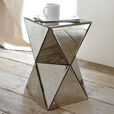 mirror table. remarkable triangle accent table with faceted mirror side west elm a