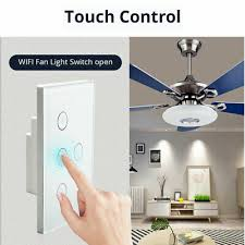 wifi smart ceiling fan controller wall switch touch panel fit for alexa google