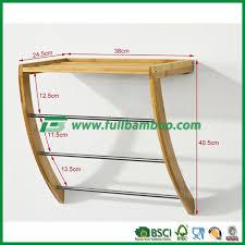 bamboo wall mounted bathroom towel rail holder shelf storage rack self assemble