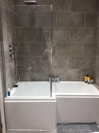 Small L Shaped Bathroom Design Grey Bathroom P Shape Bath In 2020 Tiny House Bathroom