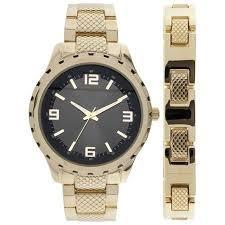cheap gold watch set gold watch set deals on line at alibaba com get quotations · timecenter men s black dial arabic numeral bracelet set watch gold