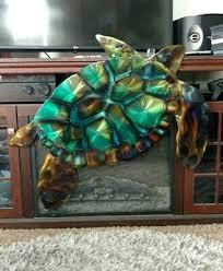 metal wall art sea turtle indoor