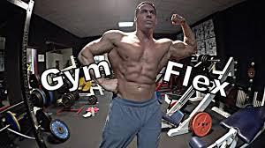gym flex muscle flexing posing