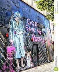 HRH Queen Elizabeth And Corgi `God Save The         Queen` Graffiti Editorial Image - Image of graffiti, brainwash:         106783045