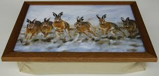 lap tray with cushion hare today in rustic country frame