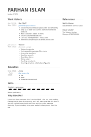 Bar Staff Resume Samples Visualcv Resume Samples Database