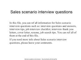 Scenario Interview Sales Scenario Interview Questions