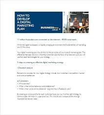 Digital Marketing Plan Template Free Sample Example Format