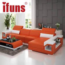 IFUNS brillancy orange genuine leather corner sofas modern design l shape  recliner floor sofa set living room furniture (fr)