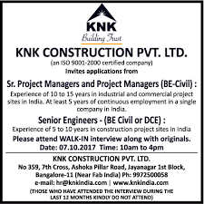 Job Project Manager Bengaluru Engineering Civil And