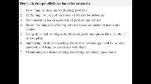 Sales Associate Job Description For Resume Resumes Retail Sales