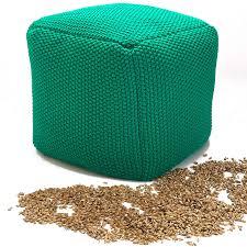 Vivrei Design Sitzpouf Quadratisch Füllung Bio Natur Füllstoff Bezug