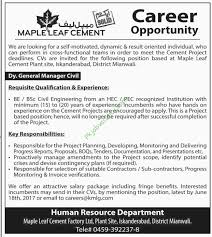 Mianwali Maple Leaf Cement Jobs Available For Dy General Manager