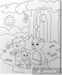 Canvas 3 Leuke Beren Kleurplaat Illustratie Voor Kleine Kinderen