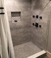modern tile shower niche