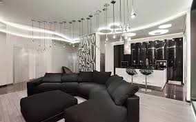 living room with modern ceiling lights backlight and suspended lamps