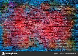 paint splash graffiti brick wall colorful background stock photo