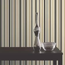 Buy Fine Decor Tulipa Stripe Wallpaper Black / Gold/ Cream for Your Home