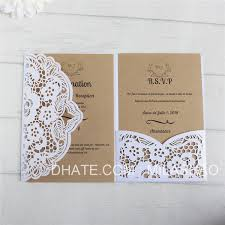 White Invitation For Wedding Bridal Shower With Rsvp Insert Envelop Flower Laser Cutting Personalized Printing Multi Colors Wordings For Wedding