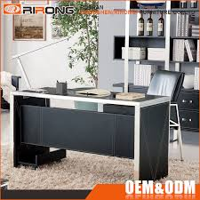glass top office desk. luxury modern glass top office table design black leather veneer stainless steel frame executive and desk - buy s